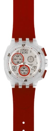 Swatch Chrono Plastic Red Toxin Silver Dial Men's Watch SUIK405