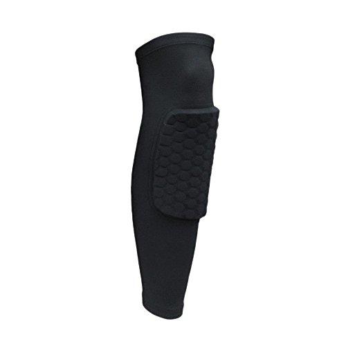 Forepin® Uno accoppia leggeri Kneepad / nido d'ape traspirante ed elastico antiscivolo Pad Crashproof Pallacanestro ginocchio della gamba lunga manicotto protettivo pad, design per proteggere Leg Da Crash (nero, L)