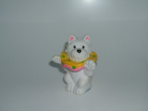 Little People Dog (White, Performing) 2003 Mattel Replacement Figure - Fisher Price Zoo Doll Circus Ark Toy Pet Shop front-111971