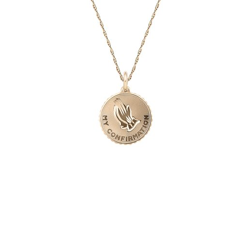 Children's 14k Gold Filled Engraved Round My Confirmation Pendant Necklace, 18
