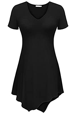 Meaneor Women's V Neck Short Sleeve Handkerchief Hem Lightweight Flare Tunic Top
