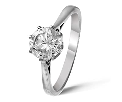 Classical 18 ct White Gold Ladies Solitaire Engagement Diamond Ring Brilliant Cut 1.50 Carat KLM-SI1