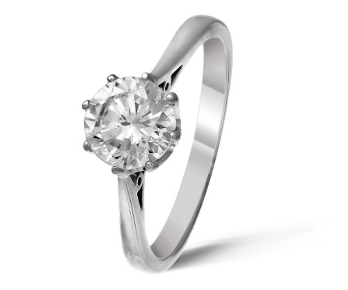 Classical 9 ct White Gold Ladies Solitaire Engagement Diamond Ring Brilliant Cut 1.00 Carat JK-I2 Size N