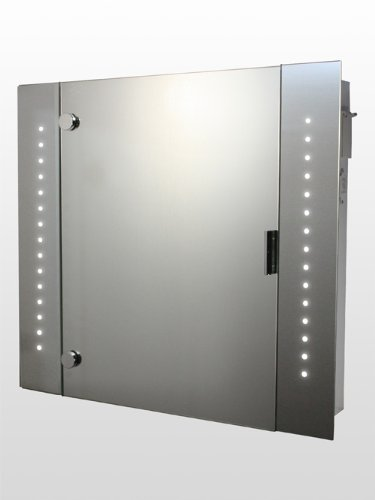 LED Illuminated Bathroom Mirror Cabinet, (h)600 x (w)650mm IP44 Rated with Built-in 240v Shaver Socket