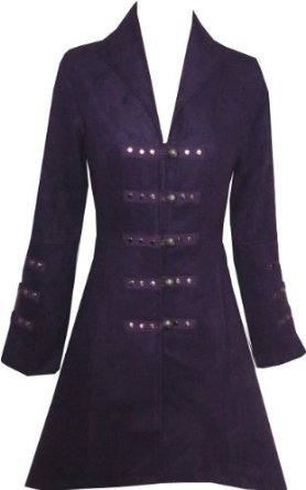 Victorian Purple Gothic Military Long SteamPunk Indie Jacket Coat S 10