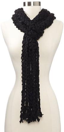 Jessica Simpson Women's Chunky Fringe Sparkle Muffler, Black, One Size