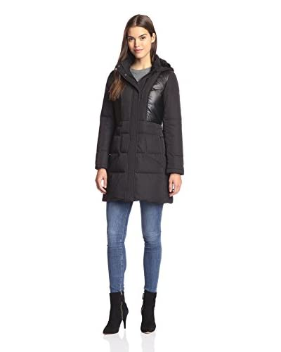 7 For All Mankind Women's Combo Coat with Faux Fur Trim