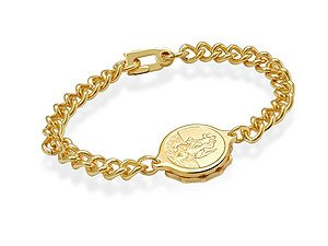 Ladies Gold Plated St. Christopher SOS Talisman Bracelet