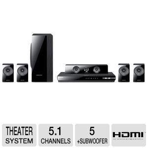 Samsung HT-EM54C Blu-ray Home Theater System – 5.1 Channel, 1000 Watts, 3D Ready, Bluray Player, Built-in WiFi, Dolby TrueHD, HDMI, AllShare Play