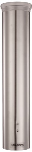 "San Jamar C4150Ss 2.88"" Diameter X 16"" Length, Stainless Steel Small Water Cup Dispenser With Hinged Flip Cap back-496112"