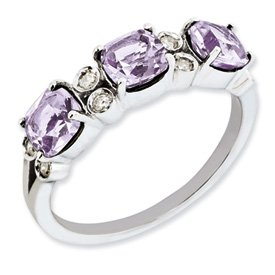 Genuine IceCarats Designer Jewelry Gift Sterling Silver Diamond & Pink Quartz Ring Size 7.00