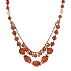 Copper-tone Lt. Colorado and Brown Crystal 16inch With Ext Necklace - JewelryWeb