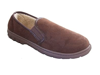 New Mens Brown Faux Suede Luxury Slippers Size UK 7