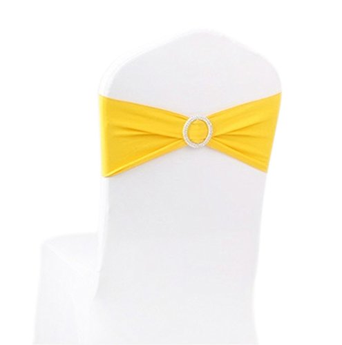 ASPIRE Wedding Chair Cover Bands with Ring Buckle, Fits Most Chairs (10 Pack) - Yellow