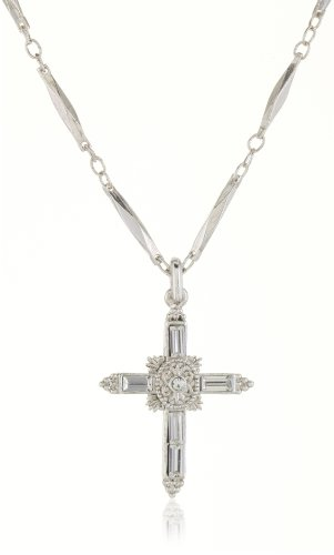 The Vatican Library Collection Crystal Cross Silver-Tone Necklace