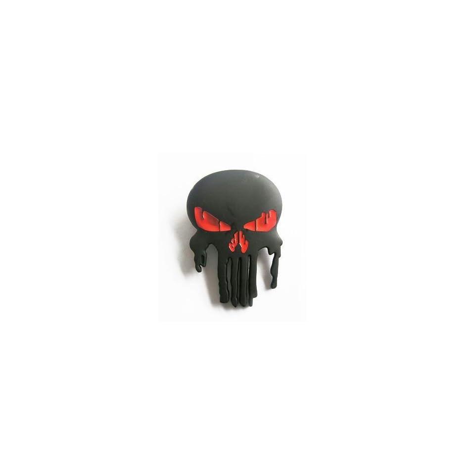Black Skull Red Eyes Pewter Belt Buckle