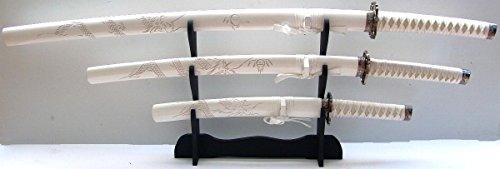 Samurai Schwerter set Damast Gefaltet Weißes Drachen Katana 3er set Red Black