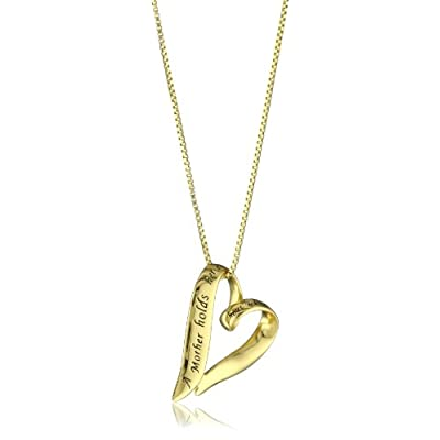 "14k Yellow Gold Plated Sterling Silver ""A Mother Holds Her Child's Hand For A Short While and Their Hearts Forever"" Heart Pendant Necklace,18"": Jewelry: Amazon.com"
