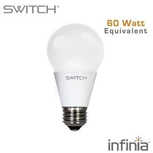 SWITCH Lighting A260FUS27B1-R infinia A19 10 Watt (60-Watt Replacement) 800 Lumens LED Light Bulb, Soft White (2700K), Dimmable