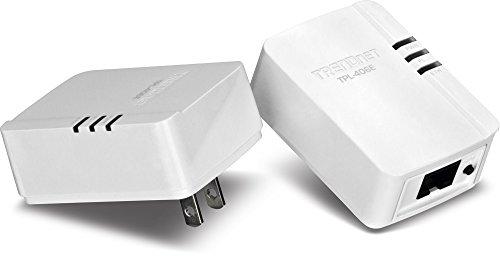 TRENDnet Powerline 500 AV Mini Network Starter Kit, Up to 500 Mbps over existing electrical lines TPL-406E2K