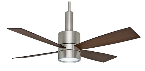 Casablanca Fan Company C43G45L Bullet 54-Inch Ceiling Fan and Light, Brushed Nickel Motor with Reversible Burnt Walnut/Walnut Blades
