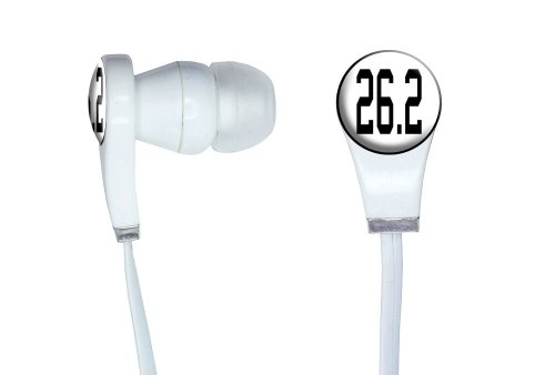 Graphics And More 26.2 Marathon - Running Jogging Novelty In-Ear Headphones Earbuds - Non-Retail Packaging - White