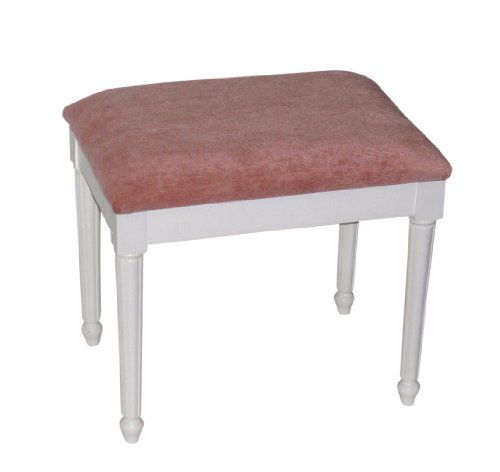 Pink Chenille Top Dressing Table/Bedroom Stool with White Chatsworth Legs