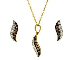 IBB - 1.45.1564 - Parure collier et boucles d'oreilles Femme - Or jaune (9 cts) 3.14 Gr - Diamant / Diamant Marron