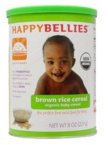 Organic Brown Rice Cereal, 7oz by HAPPY BABY (6 cans)