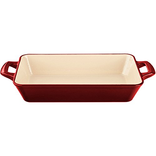 La Cuisine 3.9 Qt Enameled Cast Iron Deep Roasting Pan, Red
