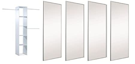"Extra Wide 4 x 36"" Silver Framed Mirror Sliding Door Pack with Interior Storage. Up to 3607mm (11ft 10ins) wide."