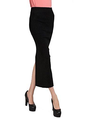Kufv Women's Knitting Wool Stretch Split Bodycon Pencil Medium-long Skirt (Black) (Long Split Maxi Skirt compare prices)
