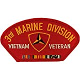 US Military Vietnam War Iron On Patch - USMC - 3rd Marine Division Vietnam Veteran