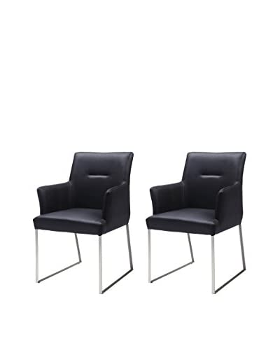 Whiteline Larry Set of 2 Dining Armchairs, Black