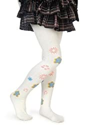 Girls Fashion Tights White w/ Blue Flowers Design (XL)