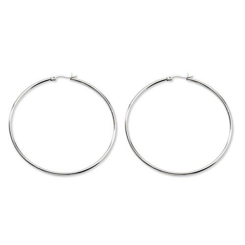 Stainless Steel Polished 70mm Hoop Earrings