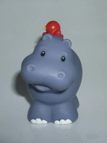 Little People Hippo (With Red Bird On Back) 2002 Mattel Replacement Animal Figure - Fisher Price Zoo Doll Circus Ark Toy Pet Shop Hippopotamus