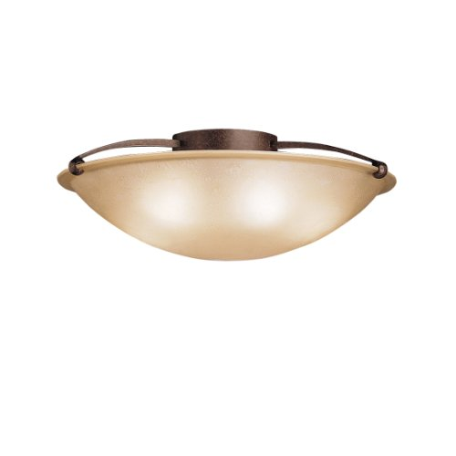 Kichler Lighting 8407TZ 5-Light Semi-Flush Ceiling Light, Tannery Bronze with Etched Sunset Glass