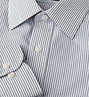 "2"" Longer Cotton Rich Quick Iron Twin Striped Shirt"