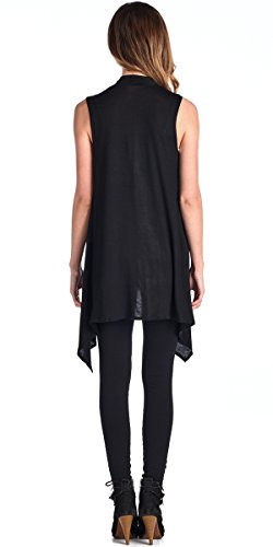 Popana Asymmetric Sleeveless Cardigan - XL Black Made In USA