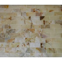 4x4 Small Sample of 2x4 Rustic White Onyx Polished Mosaic Tiles