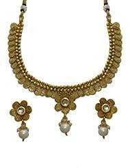 LA TRENDZ Gold Plated Flower Design Necklace Set For Women