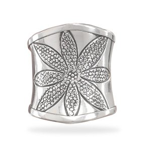 Sterling Silver Oxidized Flower Design Ring / Size 7