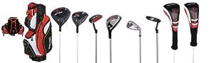 Spalding Men's SP22 Kit golf complet Fibre de carbone Droitier Noir/rouge/blanc