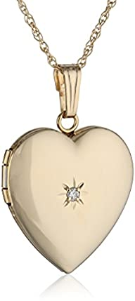 14k Yellow Gold Heart Locket Necklace…