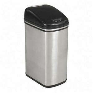Safco Kazaam Motion-Activated Receptacle, Rectangular, 11.5 Gallons, Stainless Steel/Black (9762SS)