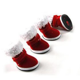 Christmas Red Boots With Warm Nap, Set Of 4, Outdoor Walking, XSmall