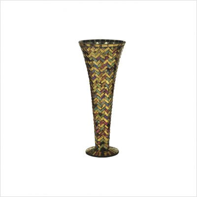 Dale Tiffany PG10259 Herringbone Decorative Vase, 6-1/4-Inch by 15-3/4-Inch