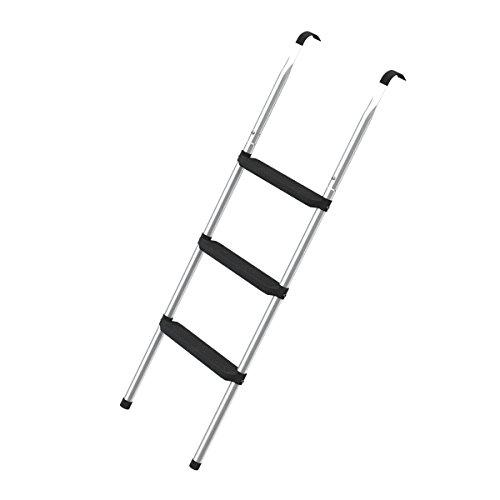 Trampolin Leiter für große Trampoline (3 Stufen, silber)