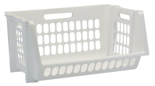 United Solutions Sb0119 Set Of Three Medium Stack And Storage Bins In White-3 Perforated Medium Stackable Bins In White To Organize Your Life